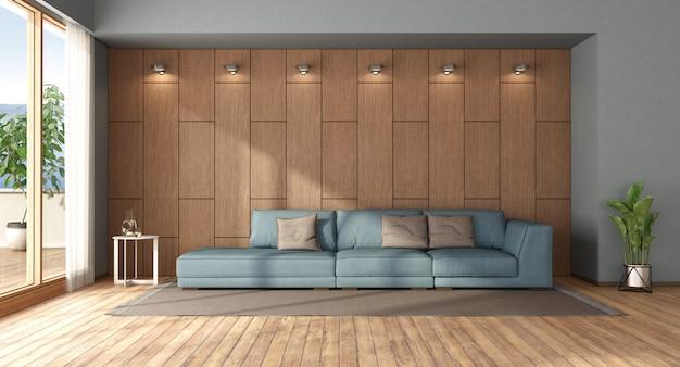 Soggiorno con divano contro boiserie in legno