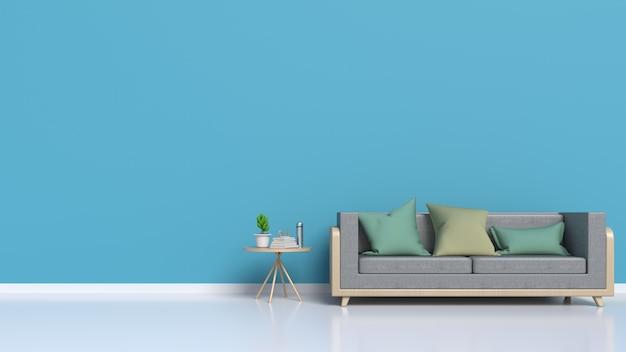 Soggiorno con divano, dietro le pareti scure, rendering 3d