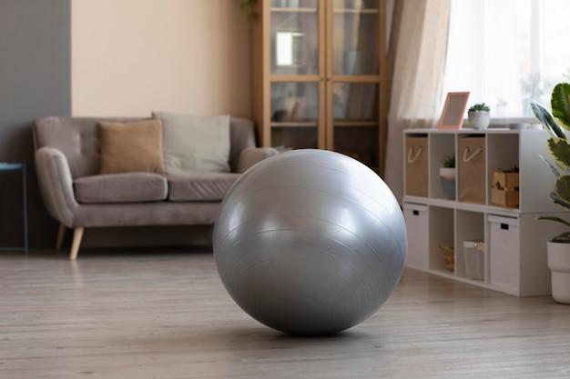 Soggiorno con palla svizzera sul pavimento