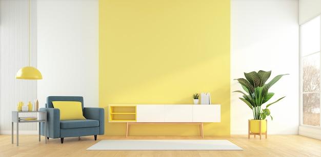 Soggiorno con mobile tv sulla parete gialla e tavolino poltrona rendering 3d
