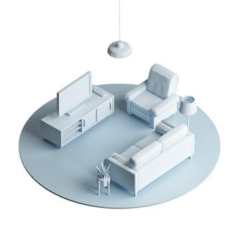 Area lounge del soggiorno, illustrazione 3d low poly