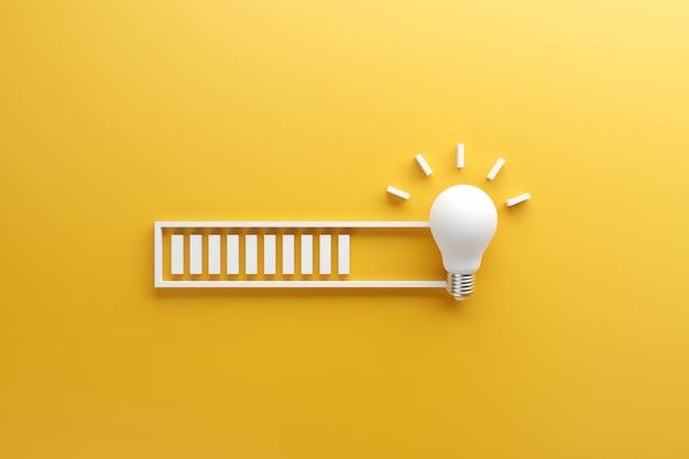 Barra di caricamento quasi completa di idea in fase di elaborazione su una lampadina su sfondo giallo.
