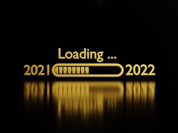 Caricamento dal 2021 al 2022 del numero d'oro di lusso su sfondo scuro con riflessione per la preparazione del concetto di buon natale e felice anno nuovo, tecnica di rendering 3d.