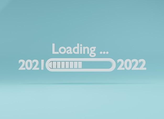 Caricamento dal 2021 al 2022 di lettera bianca su sfondo blu con riflessione per la preparazione del concetto di buon natale e felice anno nuovo, tecnica di rendering 3d.