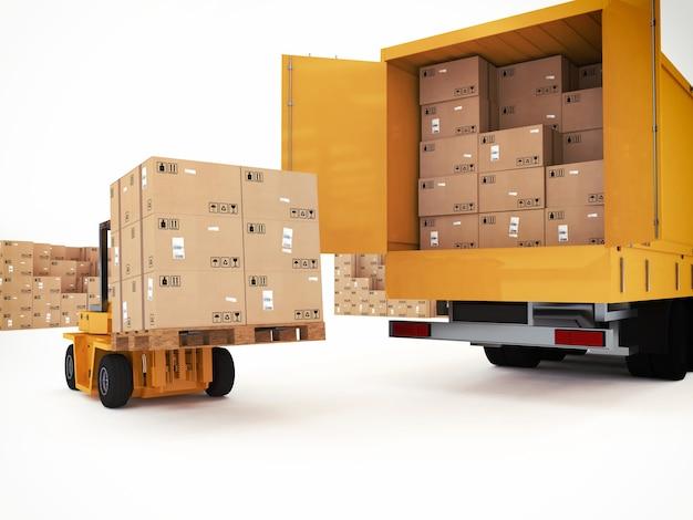 Caricamento della pila di scatole imballate su camion