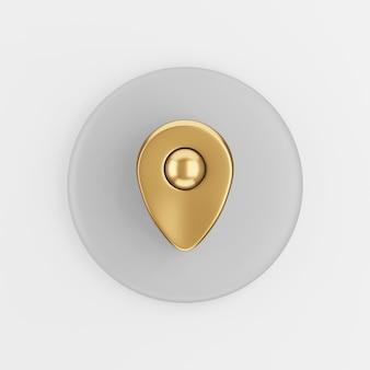 Icona di simbolo dell'oro di posizione. pulsante chiave tondo grigio rendering 3d, elemento dell'interfaccia utente ux.