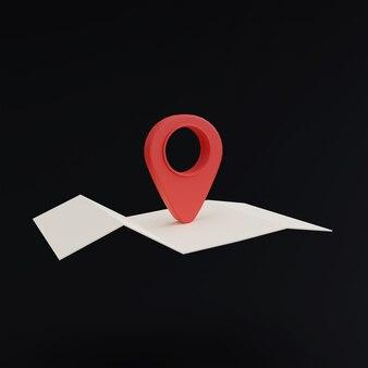 Icona di posizione pin su sfondo nero