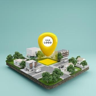 Icona della puntina di posizione sulla mappa urbana della città terrestre che indica la posizione e la direzione