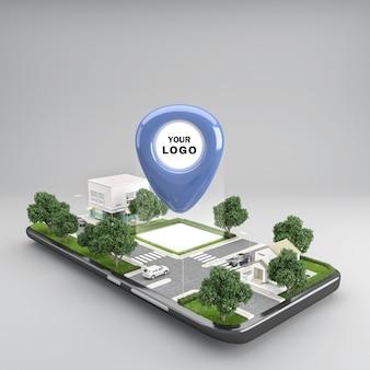 Icona della puntina di posizione sulla mappa urbana della città del telefono cellulare che indica la posizione e la direzione