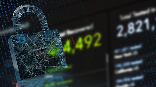 La serratura e lo sfondo aziendale per il rendering 3d del concetto di sicurezza