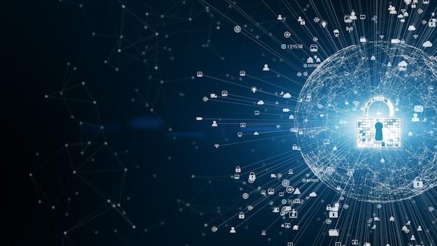 Icona di sicurezza cyber security, protezione della rete dati digitale, concetto futuro del fondo della rete di tecnologia.