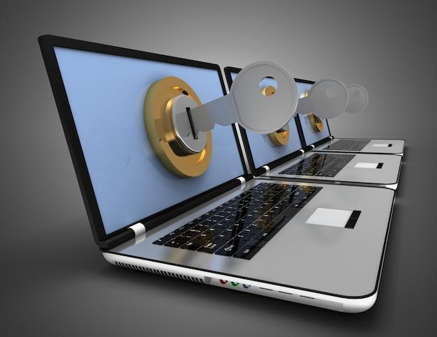 Concetto di computer bloccato. illustrazione di rendering 3d
