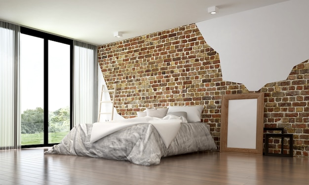 La camera da letto del soppalco e il design degli interni del fondo della struttura del muro di mattoni e la vista sul giardino