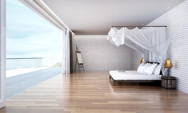 Il design degli interni della camera da letto del soppalco e lo sfondo della vista sul mare sea