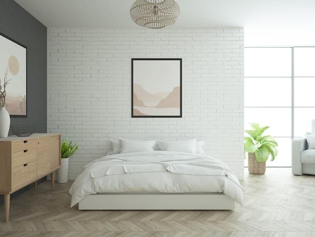 Camera da letto a soppalco con muro di mattoni bianchi e pavimento in legno e grande finestra