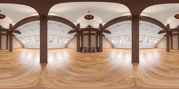 Panorama interno vuoto del sottotetto con travi a vista, muro di mattoni, pavimento in legno. alta risoluzione ampia. illustrazione di rendering 3d