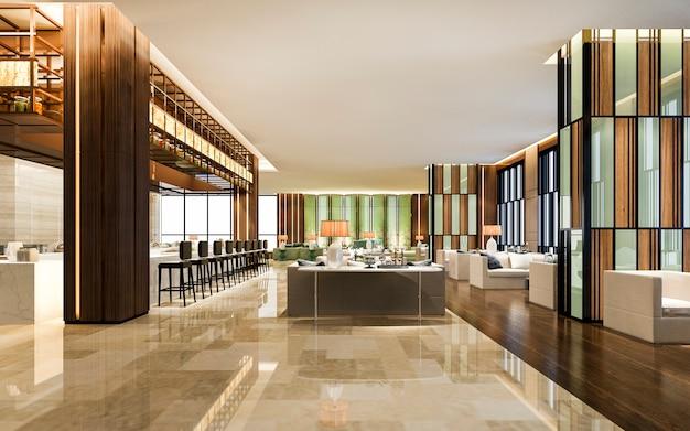 Loft e lounge di un hotel di lusso con bancone