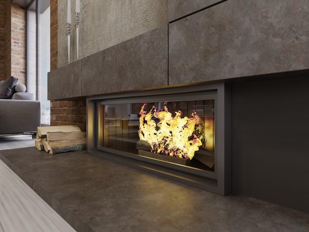 Camino di design in stile loft, focolare incorporato con fuoco ardente e legna da ardere. rendering 3d.