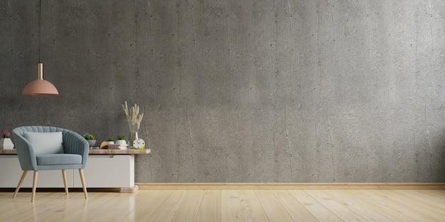Casa in stile loft con poltrona e accessori in camera. rendering 3d
