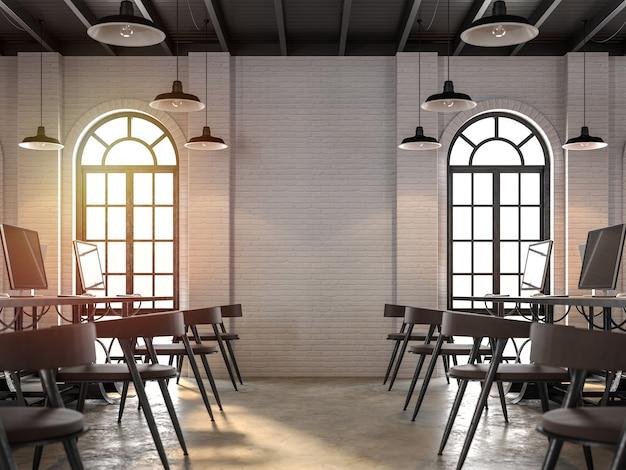 Rendering 3d di interni per ufficio in stile loftarredato con pelle marrone scuro e mobili in acciaio nero
