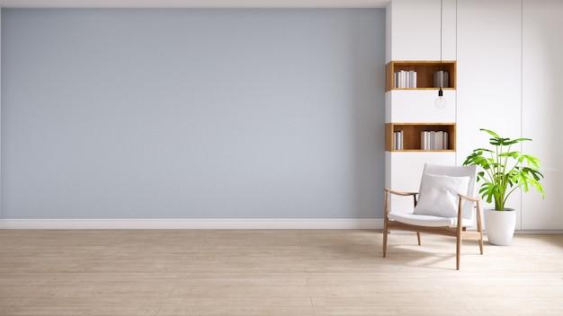 Interno del sottotetto e d'annata del salone, poltrone di legno con la pianta sulla pavimentazione di legno e parete blu, rappresentazione 3d