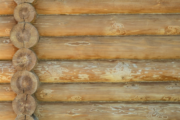 Fondo della parete della casa di tronchi. costruzione di una casa ecologica in legno con materiali naturali. motivo e consistenza della muratura in legno. foto di alta qualità