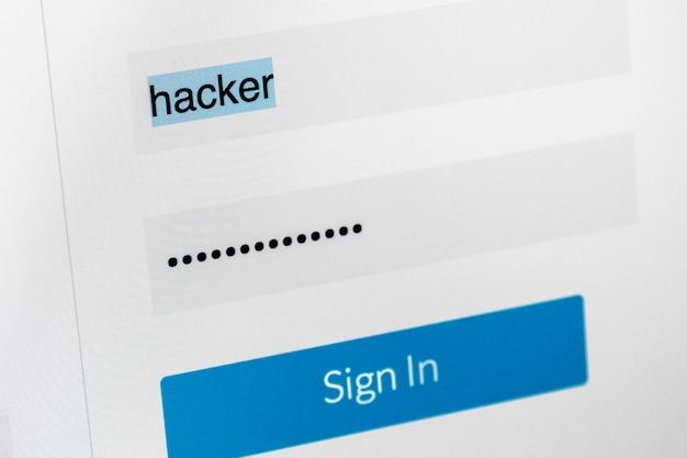 Campi di accesso e password sullo schermo