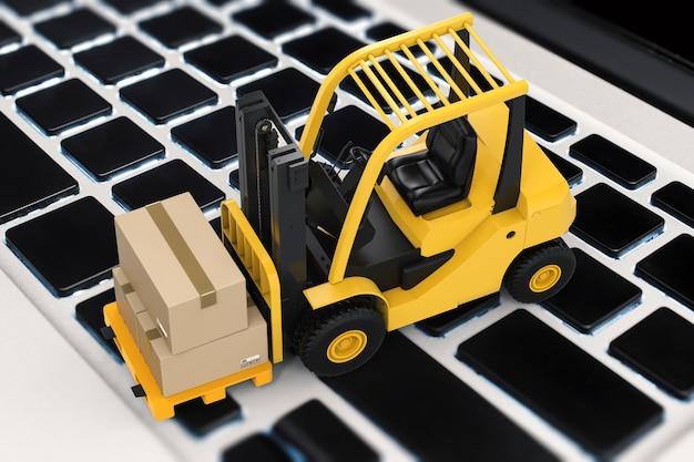 Concetto di informazioni logistiche con scatola di cartone rendering 3d su carrello elevatore
