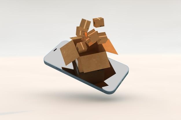 Smartphone con tecnologia logistica e scatole di cartone