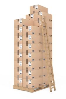 Concetto di logistica. scatole di cartone con scala sulla tavolozza di legno su sfondo bianco. rendering 3d.
