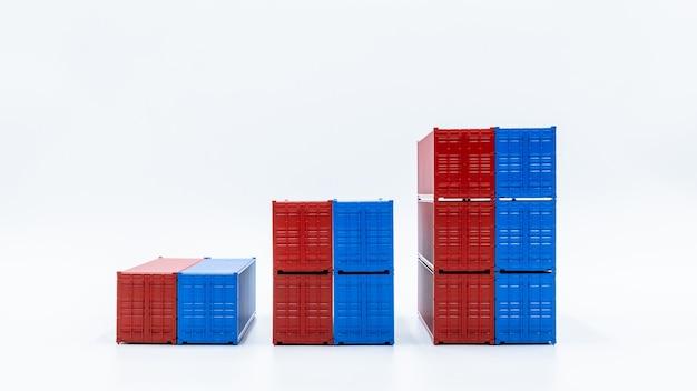 Logistica e trasporto tramite container cargo, società di affari globali importazione esportazione logistica e crescita dell'economia del settore dei trasporti che aumenta il concetto di esportazione.