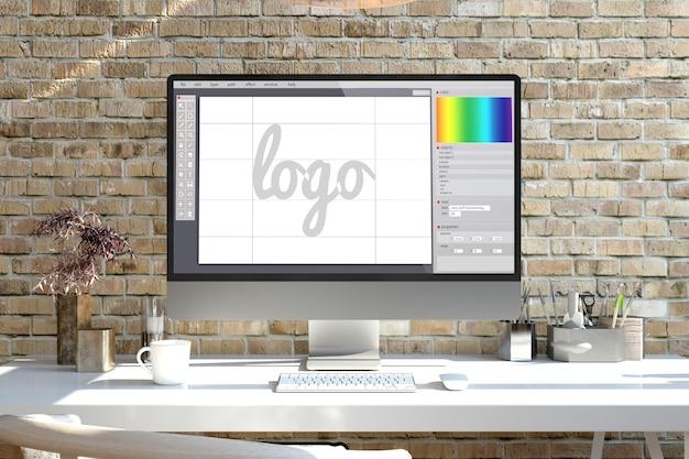Computer dello schermo di progettazione del logo su un rendering 3d desktop