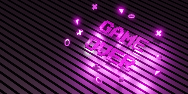 Logo game over neon laser color alphabet glow effect divertente e gioiosa illustrazione 3d
