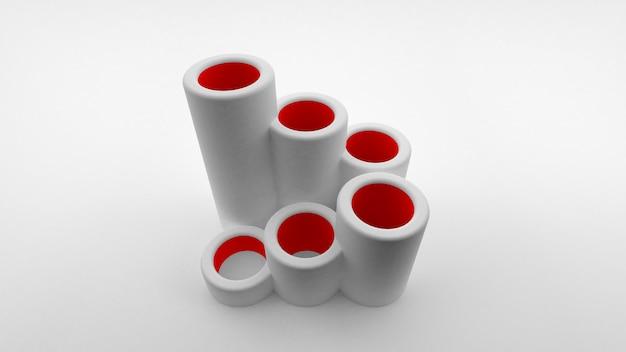 Logo di tubi cavi di diversa lunghezza allineati sotto forma di scala con interno rosso. rendering 3d.