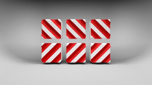 Logo sei cubi bianchi con strisce diagonali di colore rosso su sfondo grigio. rendering 3d.