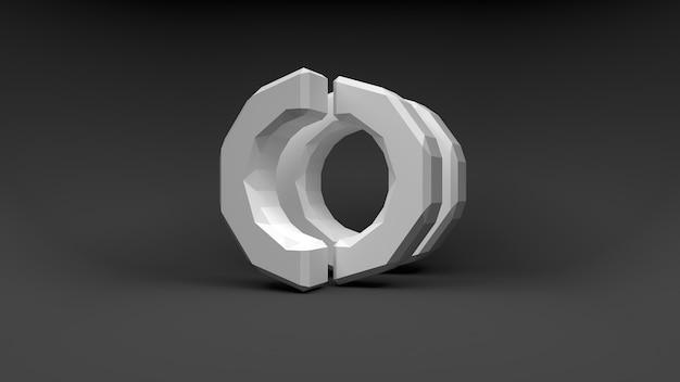 Anello con logo bianco di due metà su superficie grigia