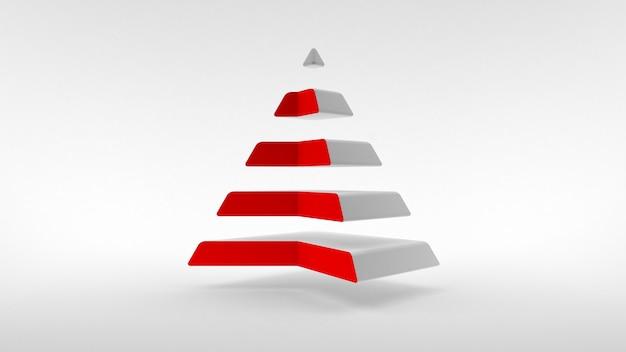 Il logo su una superficie bianca, una piramide bianca con un collo di colore rosso composto da parti orizzontali uguali