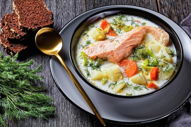 Lohikeitto, zuppa di salmone con panna, patate, carote, porri e aneto in una ciotola nera su un tavolo di legno scuro con pane di segale, cucina finlandese, piatto classico, vista orizzontale dall'alto