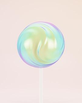 Caramella dolce lecca-lecca su bastone, sfondo pastello, rendering 3d