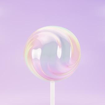 Caramella dolce lecca-lecca su bastone, sfondo rosa pastello, rendering 3d