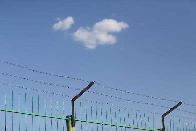 Nuvola solitaria nel cielo azzurro dietro il filo spinato