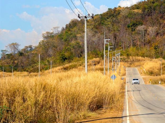 Auto bianca solitaria sulla strada di campagna accanto al campo di fiori di erba gialla con una fila di pali elettrici vicino alla montagna e allo sfondo del cielo blu in una giornata di sole, estate.
