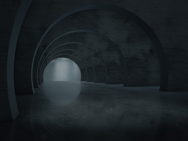 Spazio della struttura del tunnel lungo buio.