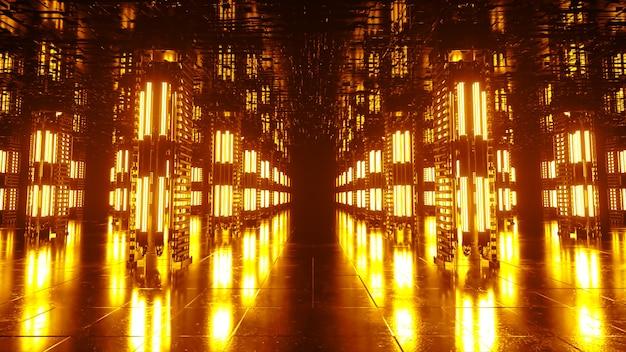 Un lungo corridoio futuristico con interni tecnologici. luce al neon che si muove rapidamente dalla fine del tunnel. sala di fantascienza. animazione 3d a ciclo continuo