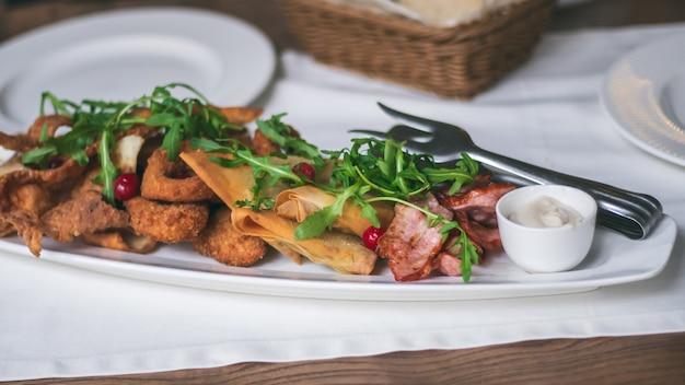 Piatto ovale lungo con varietà di snack: patatine, nachos, bacon, lavash con formaggio, rucola, mirtilli rossi, anelli di calamaro o cipolle impanate