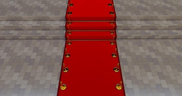 Lungo tappeto rosso tra le barriere in corda all'ingresso. strada verso il successo sul tappeto rosso.