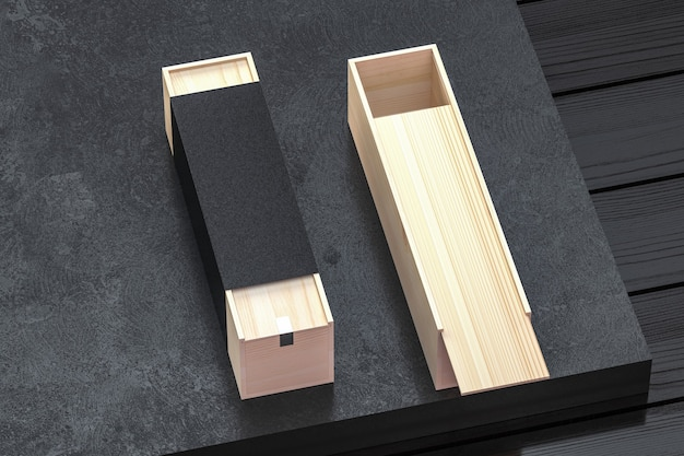 Scatole di legno lunghe con coperchio scorrevole e involucro aggiuntivo di carta nera per lavori artigianali aperti