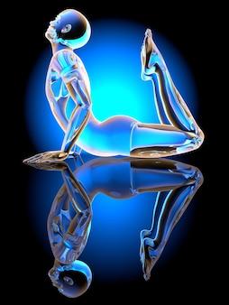 Un sosia della posa del king cobra yoga. illustrazione 3d.