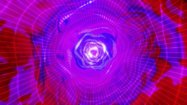 Tunnel wormhole tunnel. ordito nel tunnel dell'iperspazio del vortice del foro della fantascienza. rendering 3d