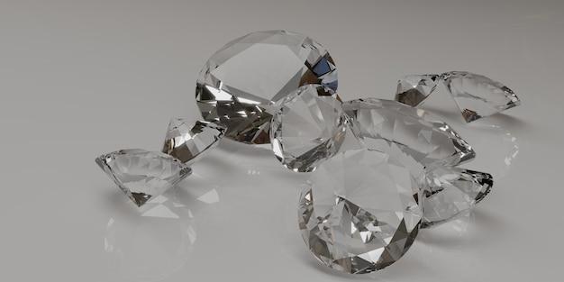 Diamanti sciolti su sfondo bianco